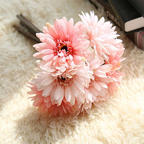 Artificial Gerbera Flower Artfen Artificial Daisy Flowers Bride Bridesmaid Holding Flowers 7 Stems Silk Daisies Flower for Wedding Bouquet Living Room Office Party Garden DIY Decoration Pink