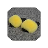 Real Fox Fur Slippers Shoes Women Fashion Sliders Spring Summer Sandals Flip Flops Fox Fur Slides Indoor Outdoor,Yellow,36