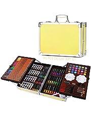 H&B zestaw do rysowani, profesjonalny zestaw artystyczny Deluxe do malowania i rysowania, w przenośnym aluminiowym pudełku, dla dzieci, nastolatków i dorosłych/prezent, 145 szt.