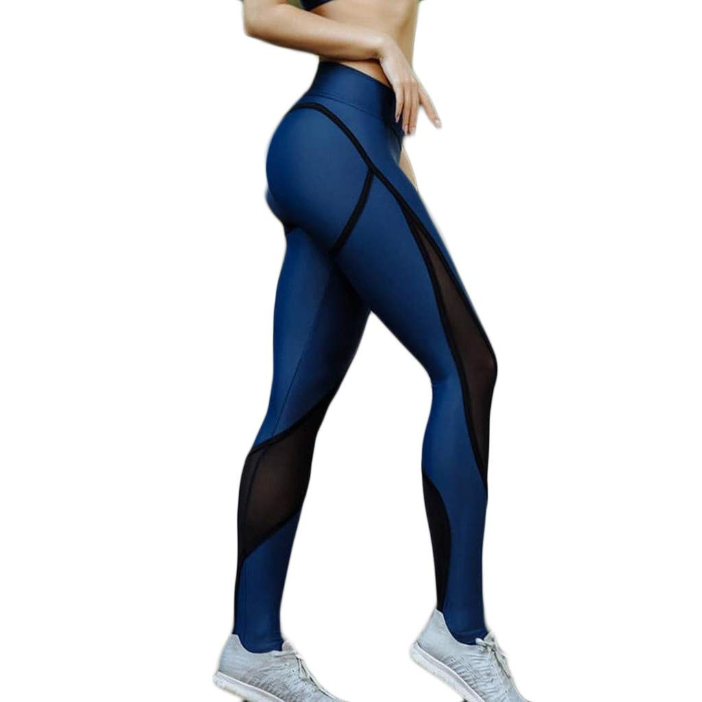 HOSOME Women Yoga Pant Ladies Stitching Hollow Pant Tight Hip-Lifting Exercise Running Yoga Pants Blue by HOSOME Yoga Pants