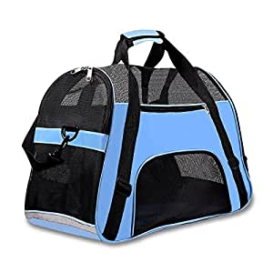 "Soft Sided Pet Carrier for Dogs Cats Puppies 17""L x 8""W x 10""H Airline Approved Travel Tote Bag Portable Handbag Shoulder Bag for Pets, Blue"