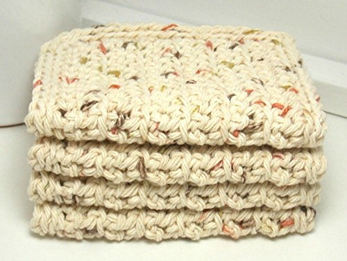 Set of 4 Natural Speckled 4 inch x 7 inch Rectangular Crochet Cotton Dishcloths