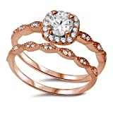 Vintage Halo 2 Piece Wedding Ring Round Cubic Zirconia Rose Gold Plated 925 Sterling Silver