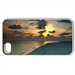 beautiful tropical beach at sunset - Case Cover for iPhone 4 and 4s (Beaches Series, Watercolor style, White)