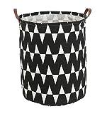HIYAGON Large Laundry Basket Bag with Handle, Collapsible Black & White