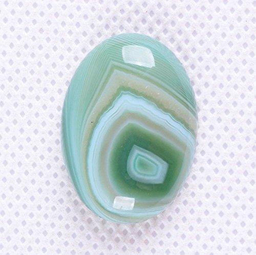25x18mm Oval Cabochon CAB Flatback Semi-precious Gemstone Ring Face (Green stripe agate)
