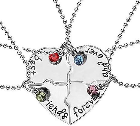 EQLEF® 4 Collar de la Amistad de la Plata de la aleación de PCS - Puede ser Heart-haped - Letras escritas Mejores Amigos por Siempre y Siempre