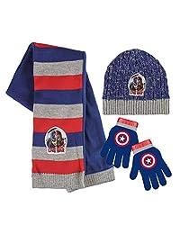 Marvel Avengers Captain America Boys Winter Hat, Scarf & Gloves Set New Kids 3 Piece Set Piece Set