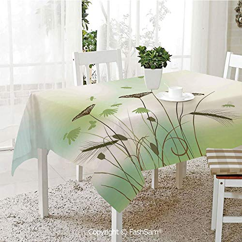 FashSam 3D Print Table Cloths Cover Silhouette of Dragonflies Bees Butterflies Flying All Over The Flowers Spring Theme Waterproof Stain Resistant Table Toppers(W55 xL72)