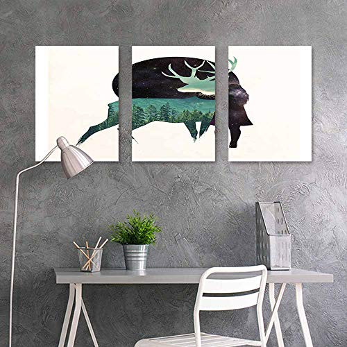 BDDLS Sticker for Decoration,Deer Girl Moon Woods Green Black Oil Canvas Painting Wall Art 3 Panels,24x47inchx3pcs]()