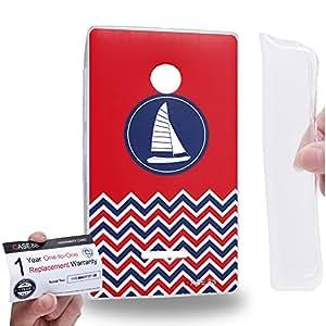 Case88 [Nokia Lumia 435] Gel TPU Carcasa/Funda & Tarjeta de garantía - Art Nautical Prints Boat Nautical Symbols Art1623