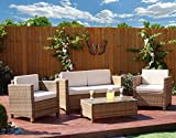 New 4 piece Grey, Light Brown Roma Rattan Garden Furniture Sofa set with Coffee Table and Chairs INCLUDES OUTDOOR PROTECTIVE COVER (Light Mixed Brown with...
