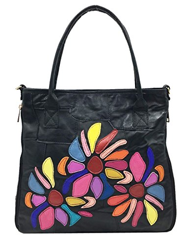 Heshe Womens Sheepskin Leather Black Handbag with Multicoloured Flowers Hobo Tote Bag Cross Body Purse Satchel for Ladies (Black)
