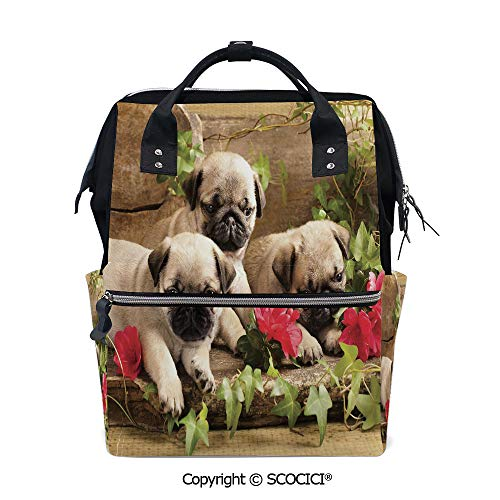 SCOCICI Stylish Durable School Backpack,Cute Sibling Puppies with Floral Arrangement in front Wooden Backdrop,for Men and Women Bookbag