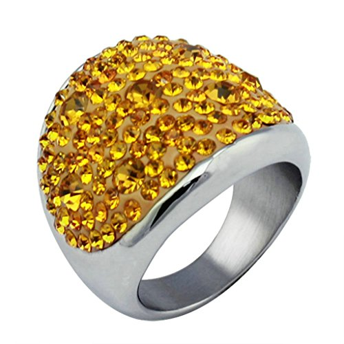 MoAndy Anniversary Ring Stainless Steel Ring Female Wedding Ring Round Round Size ()