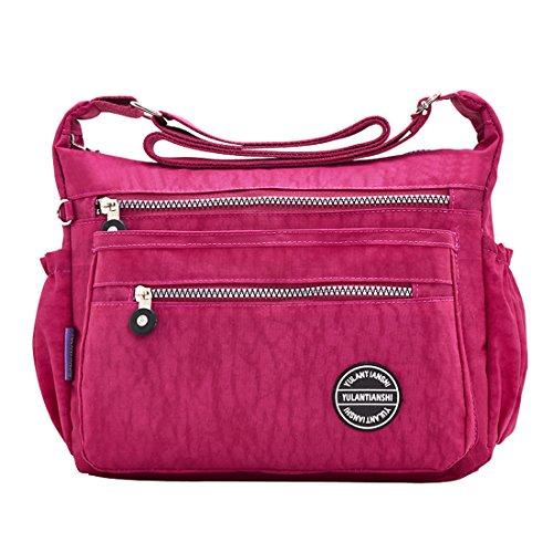 Shoulder Nylon Wine Women Multi Handbags Red And Purses Mynos Casual Pocket For Bags Crossbody ZS8wF4Fqx