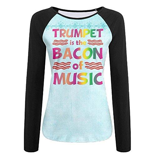 Tuba Is The Bacon Of Music Women's Long Sleeve Raglan Casual Round Neck Top Graphic T-Shirt - Swedish Eyeglasses