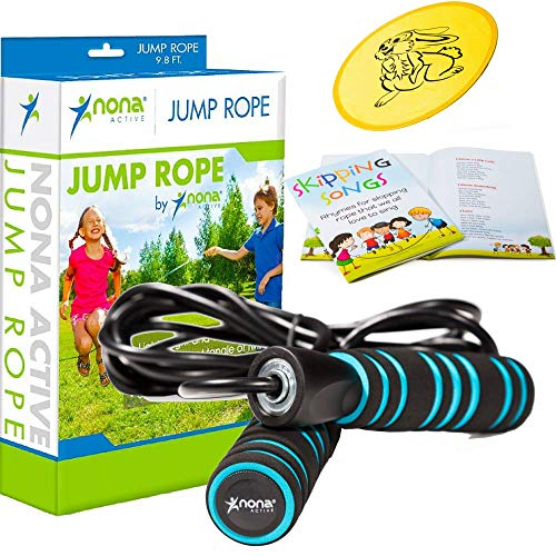 Nona Active Kids Jump Rope Set Includes Adjustable Jump Rope for Kids and Adults, Classic Skipping Songbook and Flying Disc - 100% Refund Guarantee