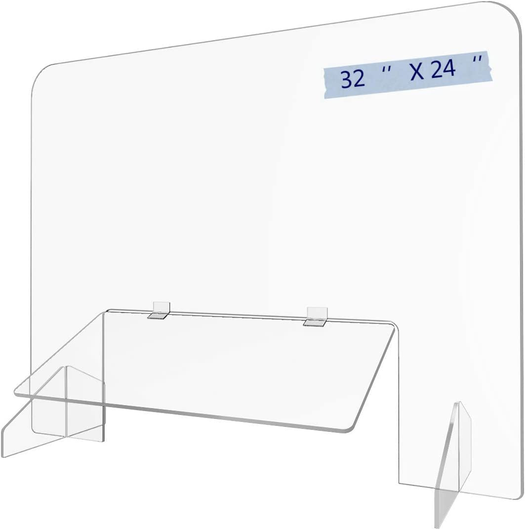 "Sneeze Guard 32""x 24"" Acrylic Shield Reception Desk Plastic Protection Barrier for Counter School Table Cashier Checkout Countertop (32''24'')"