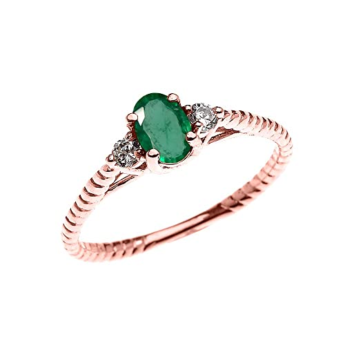 90039302970f8 Rose Gold Dainty Emerald Solitaire Rope Design Engagement/Promise Ring