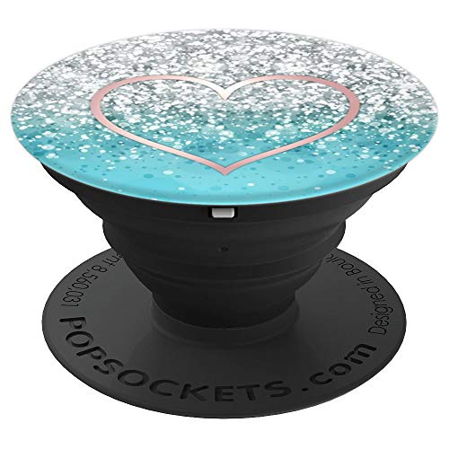 Pop Socket Rose Gold Heart On Light Blue And White Design - PopSockets Grip and Stand for Phones and - Light Rose Heart