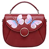 Pijushi Women's Designer Butterfly Top Handle Satchel Handbag Purse Shoulder Cross Body Bag 8002(one size, New Red Butterfly)