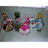 New With Tags: Disney Store Alice in Wonderland Plush Doll Set ~ Alice, White Rabbit, Queen of Hearts Red Queen, Mad Hatter & Cheshire Cat