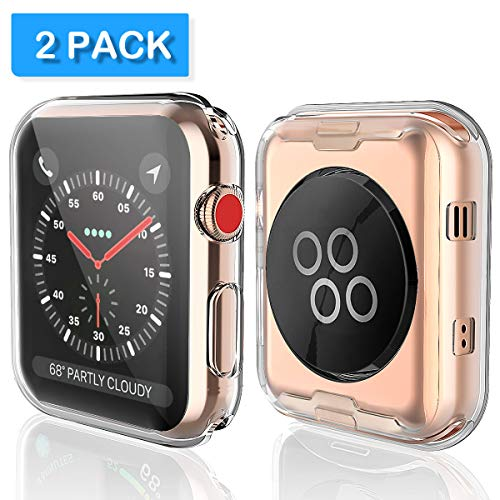 Julk Series 3 38mm Case Compatible with Apple Watch Screen Protector, Overall Protective Case TPU HD Clear Ultra-Thin Cover (2-Pack)