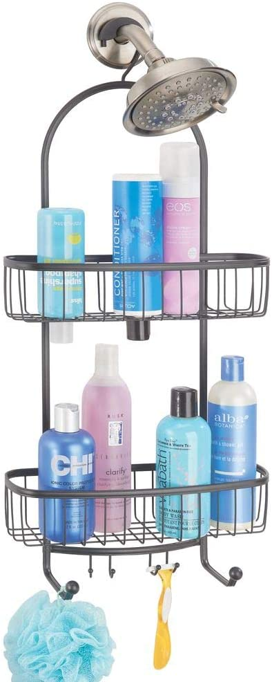 mDesign Large Metal Bathroom Tub & Shower Caddy, Hanging Storage Organizer Center with Built-in Hooks and Baskets on 2 Levels for Bathroom Showers, Stalls, Bathtubs - Graphite Gray