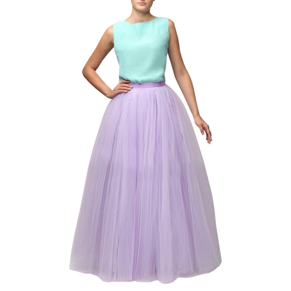 purplec WDPL Women's Long Floor Length 5 Layer Bridal Tulle Skirt