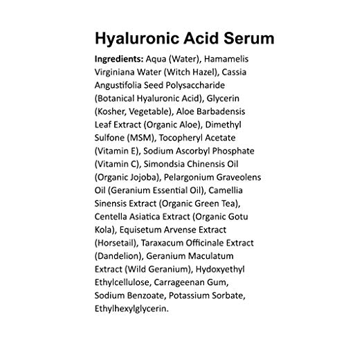 Hyaluronic Acid Serum for Face - DOUBLE SIZE (2oz) Hyaluronic Acid Moisturizer for Skin