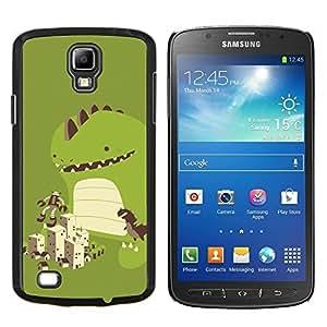 KLONGSHOP // Cubierta de piel con cierre a presión Shell trasero duro de goma Protección Caso - Dinosaurio lindo Juego - Samsung Galaxy S4 Active i9295 //