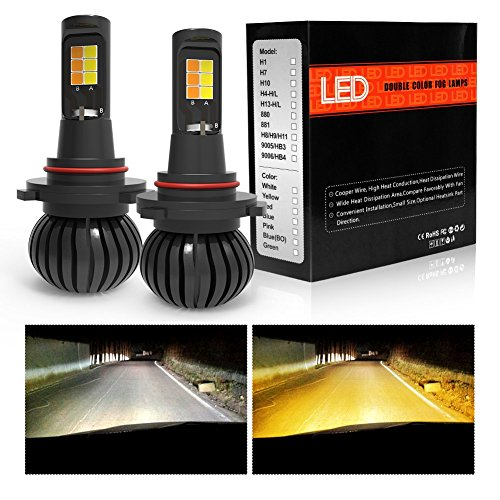 9005 9006 HB3 HB4 LED Fog Lights Bulbs Dual Color foglamp All-in-One Conversion Kits led fog 3000K Amber Yellow 6000K White NOT Headlight 3 Years Warranty