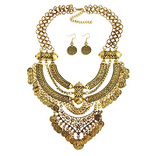 Lanue Fashion Bib Bohemian Statement Coin Necklace and Earrings Punk Ethnic style Jewelry Set for Women (Style 2-gold) -