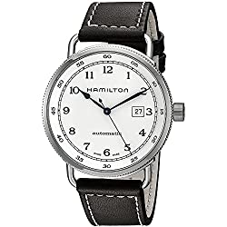 Hamilton Khaki Navy Pioneer Silver Dial SS Leather Automatic Men Watch H77715553