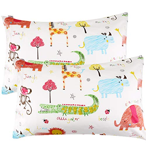 UOMNY Kids Toddler Pillowcases 2 Pack 100% Cotton Pillowslip Case Fits Pillows sizesd 13 x 18 or 12x 16 Bedding Pillow Cover for Sleeping Toddlers,Nursery,Infant-Perfect for Travel,Toddler cot,Bed from UOMNY