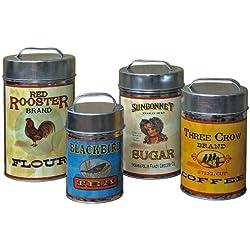 "CWI Gifts Vintage Canisters Food Safe (Set of 4), 7.25""-10.25"""