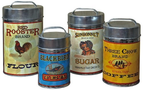 Vintage Canisters: Sugar, Flour, Coffee, Tea (Wholesale Tin Containers)