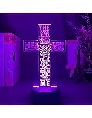 Poema infantil 3D Anime The Sagrado Bíblia Salmo Poema Christian Cross Luz noturna de LED para decoração de igreja, presente para cristãos, quarto, abajur de mesa, cruz, atmosfera de Jesus, lâmpada, brinquedo de presente para meninos e meninas TIEHENG
