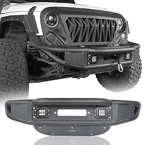 u-Box Jeep JK 07-18 Wrangler Front Bumper Stubby Tubular Textured Black Bumper w/Winch Plate & 2X 18W LED Spotlights