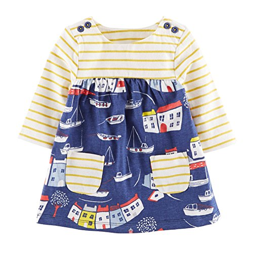 Soda Park Girls Long Sleeve Stripes and House Crewneck Cotton T-Shirt Dress 5T,4-5 (Soda Stripe Shirt)