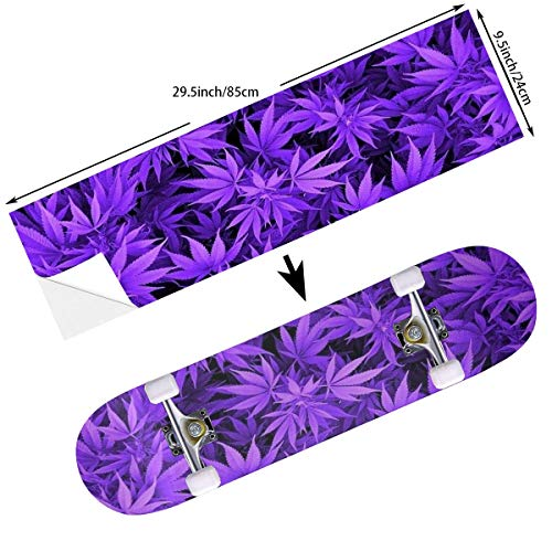 STREET FFX Fashion Funny Skateboard Cruiser Deck and Balance Board Stickers Decals Grip Tape - 9.5 x 33.5 Inches - Purple Cannabis Weed Leaves (Stickers Bottom Longboard)
