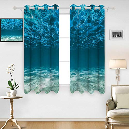 SATVSHOP Home Decor Kitchen Curtains Blackout Two Panels- 108W x 72L Inch-Ocean Bright Gravelly Bottom and Wavy Surface Tropical Seascape Abyss Underwater Sunny Day.
