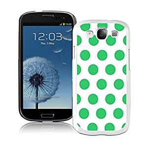 Awesome Fun Samsung Galaxy S3 White Case Durable Soft Silicone TPU Cool Polka Dot White and Green Speck Phone Case Cover Accessories