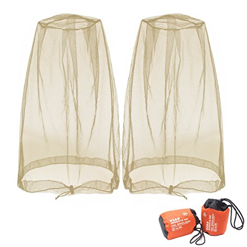 Benvo Head Net Mesh, Protective Cover Mask Face from Insect Bug Bee Mosquito Gnats for Any Outdoor Lover- with Free Carry Bags (2pcs, Khaki)