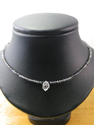 - Herkimer Diamond necklace,April Birthstone,Iolite necklace,Gemstone necklace,Diamond Quartz necklace,Quartz Crystal Necklace - Size 16,18, 20, 22, 24