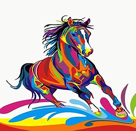 WMYZSHDWZ Pintura por Números para Adultos y niños Pintar DIY al óleo de Bricolajecon Marco Personalizado Kit Pinceles Caballo Animales Graffiti Colorful Principiantes Lienzo Decoraciones 40X50CM