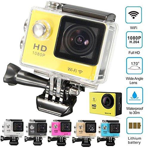 CAMTOA Wifi 1080P Full HD Actioncam, wasserdicht Action Sport Kamera Camera, 1,5 Zoll LCD 170 ° Weitwinkel-Objektiv Auto-Recorder Helmkamera Fuer Sport Home Security HD DV / AUTO DVR / Kamera+2 Batterie