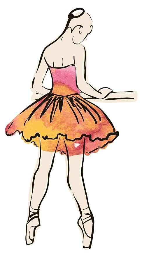 Pegatina de pared Salón de música Bailarina de ballet con vestido de color Imagen musical para