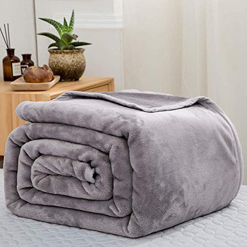 Smibra Modern Solid Color Design Blanket Warm Bed Couch Throw Blanket Cozy Sleeping Snuggling Blankets for Kids Baby and Adults-001(W47 x L78 Inch, Grey) (Gund Lopsy Lamb Comfy Cozy Baby Blanket)